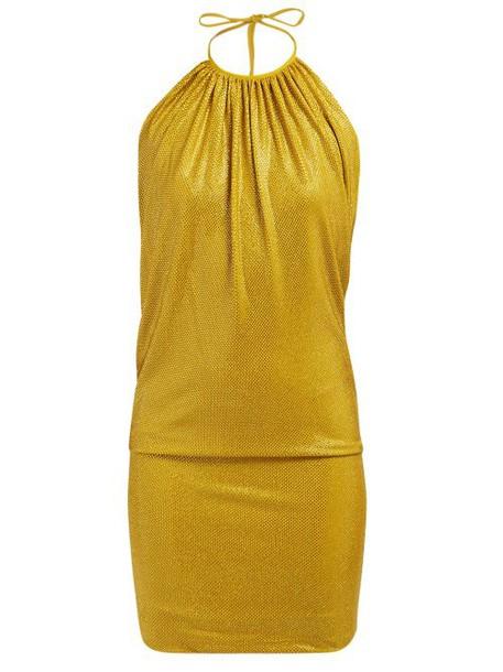 Alexandre Vauthier - Halter Neck Crystal Embellished Mini Dress - Womens - Gold