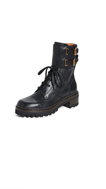See by Chloe Mallory Combat Lug Boots in nero