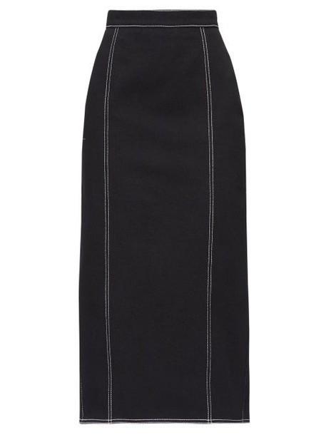 Alexander Mcqueen - Topstitched Pleated Back Denim Skirt - Womens - Black