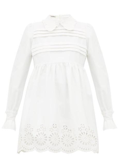 Miu Miu - Broderie Anglaise Cotton Blend Mini Dress - Womens - Ivory