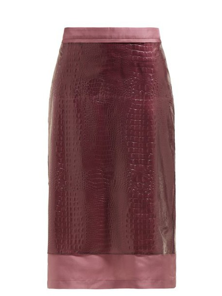 Sies Marjan - Sula Crocodile Effect Midi Skirt - Womens - Purple