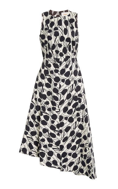 La DoubleJ Pina Asymmetric Cotton-Blend Midi Dress in print