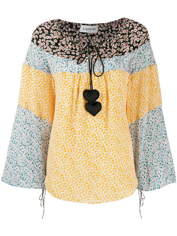 LANVIN heart embellished floral print blouse in yellow