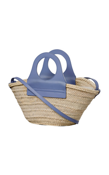Hereu Cabas Medium Leather-Trimmed Straw Tote in blue
