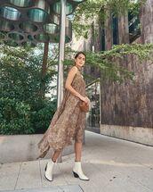 dress,midi dress,leopard print,asymmetrical dress,ankle boots,white boots,bag
