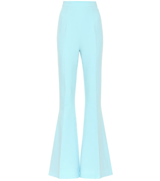Safiyaa Hallie crêpe high-rise flared pants in blue