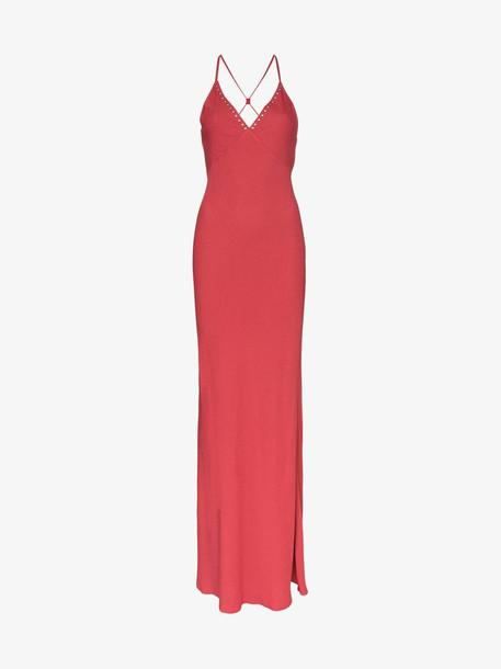 Rockins Bias-cut cross back maxi dress in red