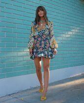 dress,mini dress,floral dress,summer dress,sandals,long sleeve dress