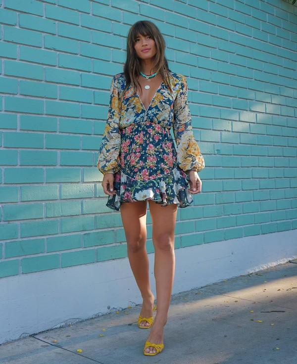 dress mini dress floral dress summer dress sandals long sleeve dress