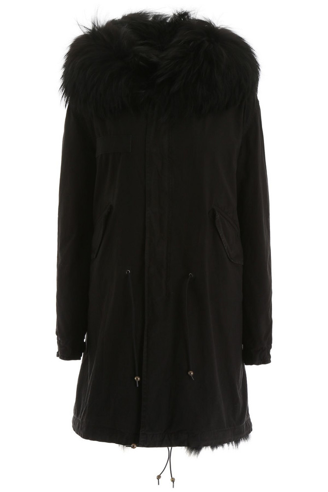 Mr & Mrs Italy Long Parka With Fur in black