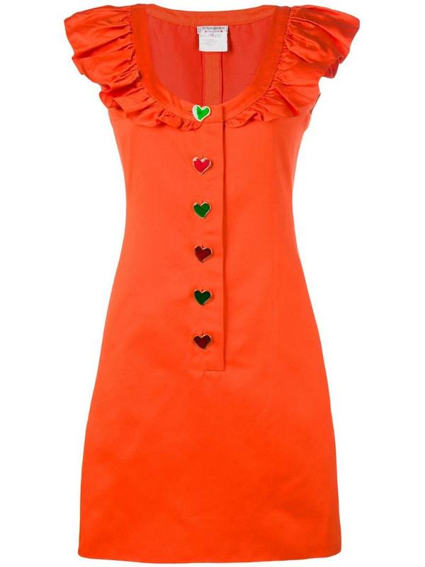 Yves Saint Laurent Pre-Owned sleeveless ruffled dress in orange