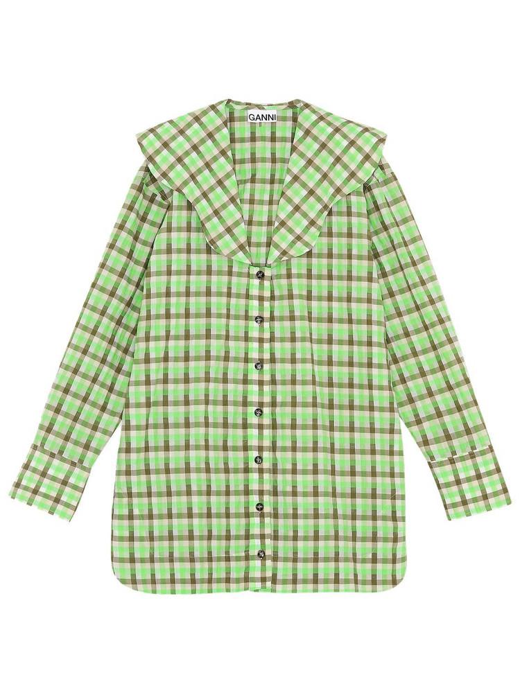 GANNI Seersucker Check V-neck Shirt in green / multi
