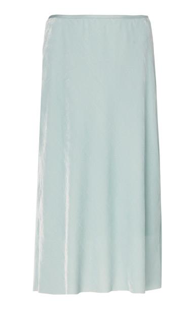 Helmut Lang Velvet Slip Skirt in blue