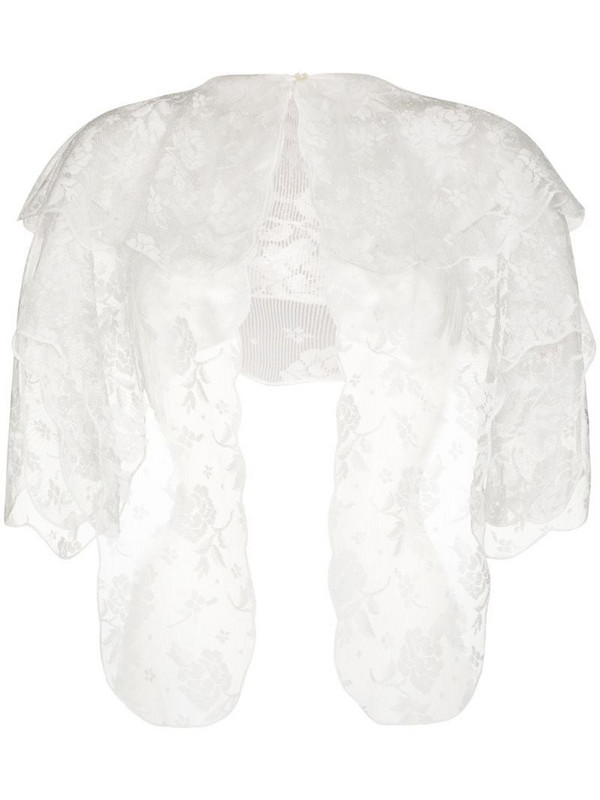 yuhan wang scalloped floral-lace cape in white