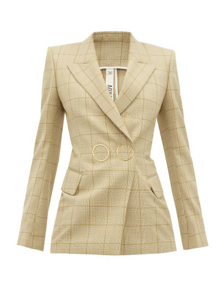 Petar Petrov - Joiner Double Breasted Checked Wool Jacket - Womens - Brown Multi