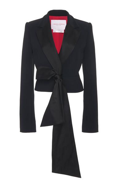 Carolina Herrera Bow-Front Crepe Tuxedo Jacket in black