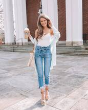 jeans,high waisted jeans,pleated,white top,white cardigan,platform sandals,shoulder bag