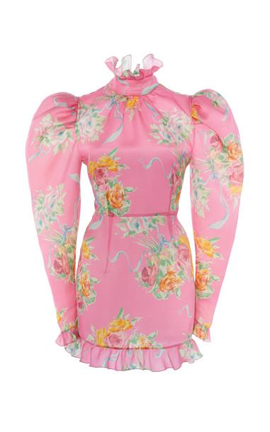 Alessandra Rich Floral-Print Silk-Satin Mini Dress in pink