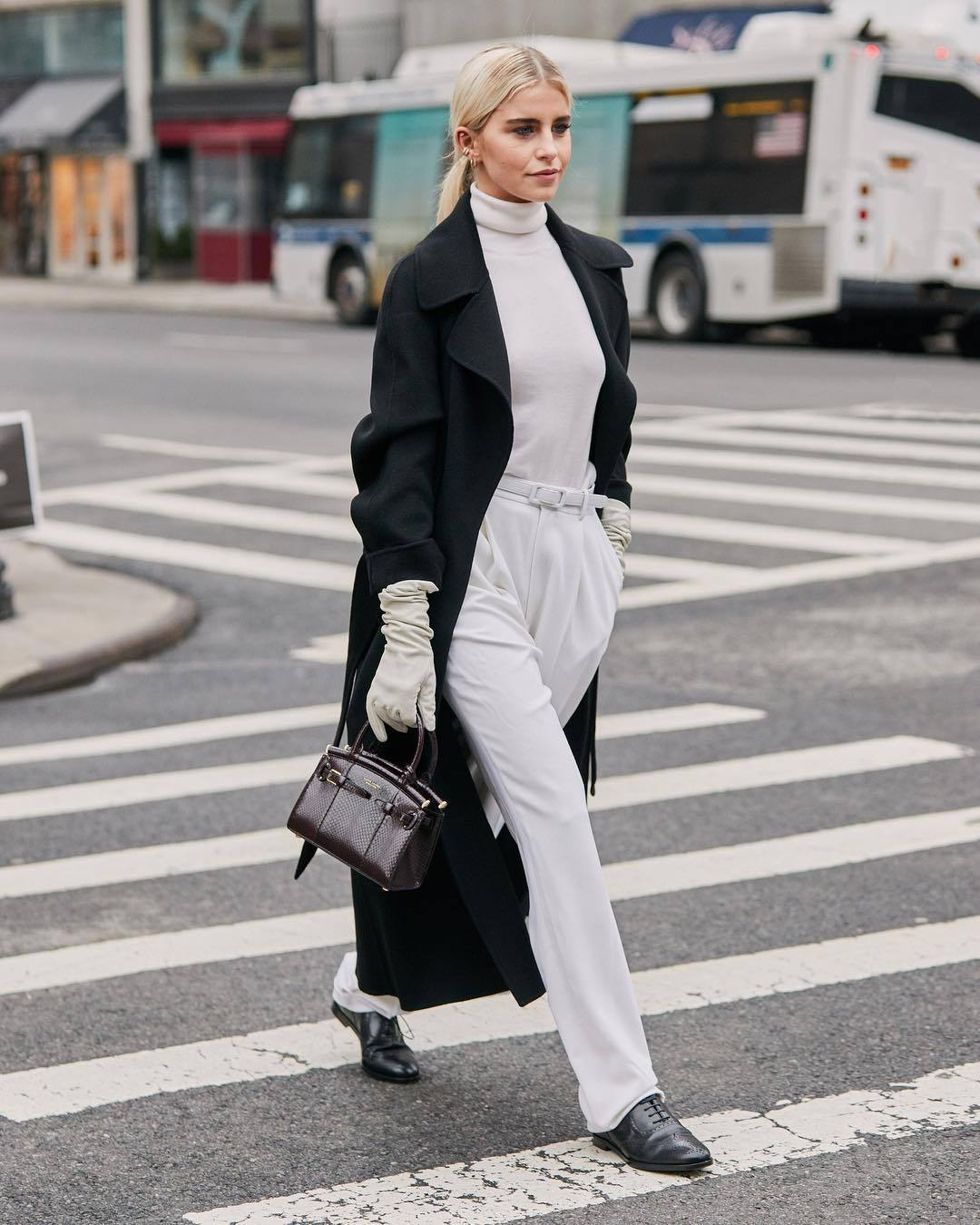 coat black coat long coat oversized coat ralph lauren black shoes white pants pleated high waisted pants handbag gloves white turtleneck top