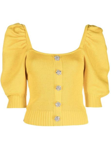 Giuseppe Di Morabito puff-sleeve knitted top in yellow
