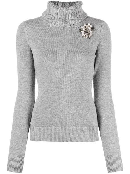 Alexander McQueen brooch-detail roll-neck jumper in grey