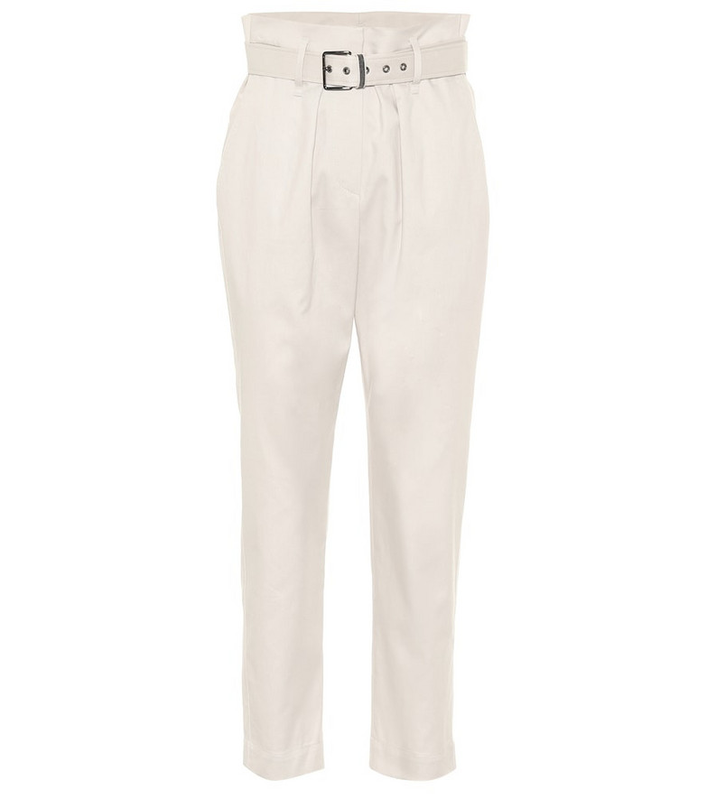 Brunello Cucinelli Belted stretch-cotton paperbag pants in beige