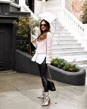 sweater,knitted sweater,pink sweater,black leggings,snake print,ankle boots,black bag,white shirt,umbrella