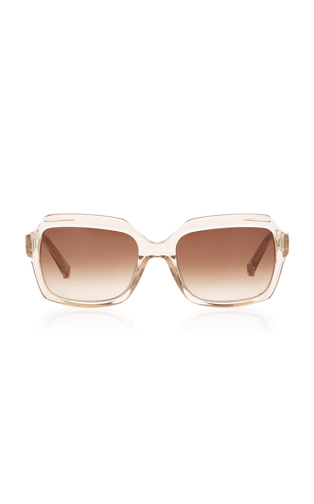 Kate Young Toni Square-Frame Acetate Sunglasses in brown