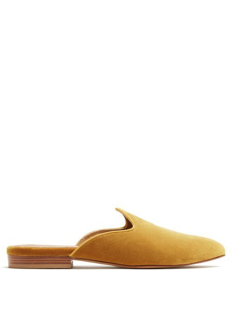 Le Monde Beryl - Venetian Backless Velvet Slipper Shoes - Womens - Gold