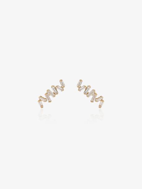 Suzanne Kalan 18K yellow gold baguette diamond earrings