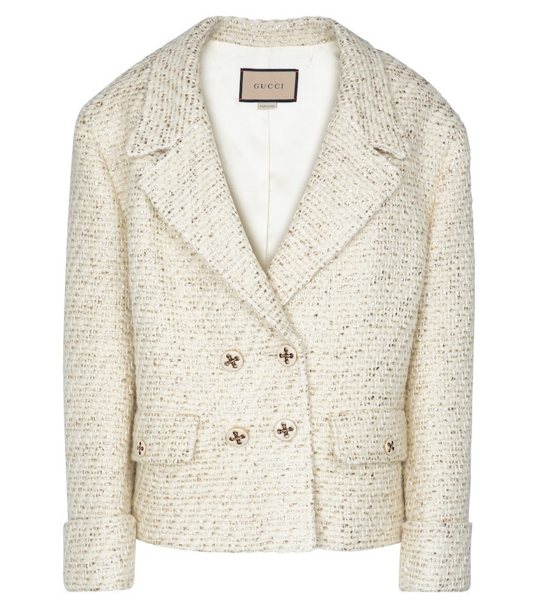 Gucci Double-breasted tweed jacket in white