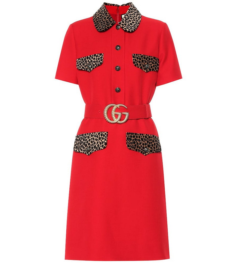 Gucci Wool and silk dress in red