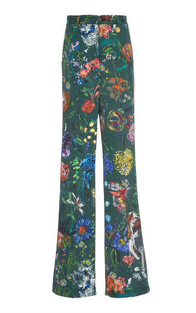 Lela Rose Maggie High-Waisted Floral-Print Crepe Wide-Leg Pants Size: