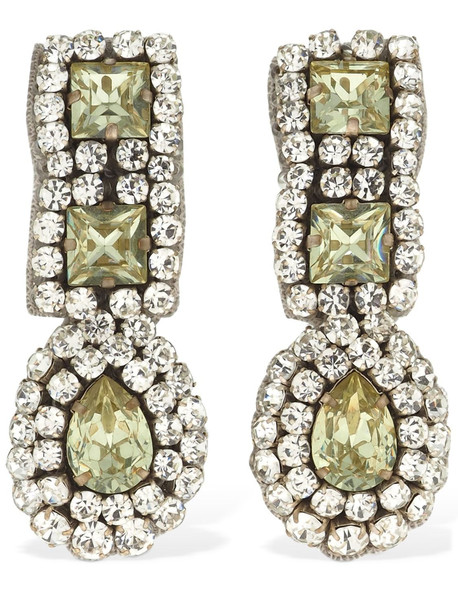MOSCHINO Crystal Pendant Clip-on Earrings in green / silver