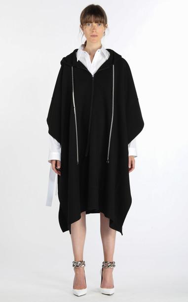 N°21 Chain-Detailed Wool-Blend Hooded Poncho Coat in black