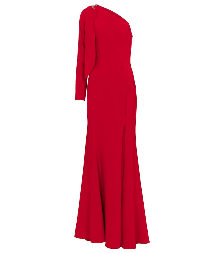 MARCHESA NOTTE One-shoulder embellished cady gown in red