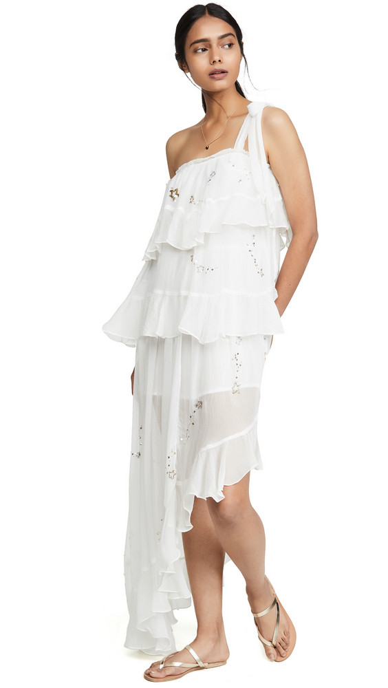ROCOCO SAND Star Light One Shoulder Dress in white