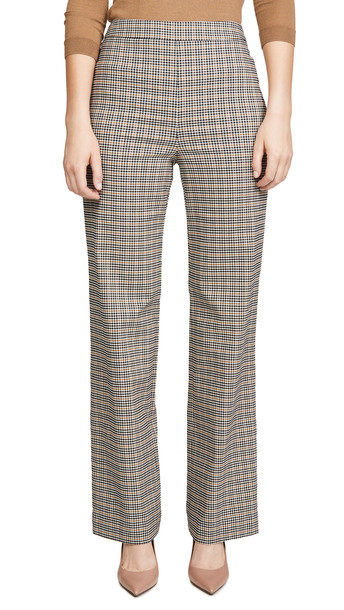 Yigal Azrouel Plaid Wide Leg Pants in camel / multi