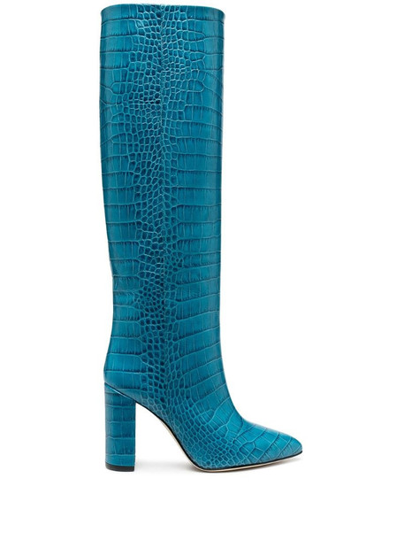 Paris Texas lizard-effect knee-high leather boots in blue