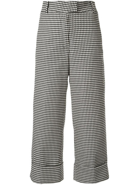 Silvia Tcherassi houndstooth cropped trousers in black