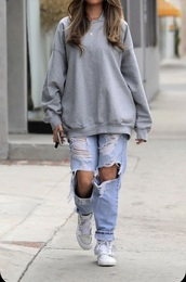 pants,light wash ripped jeans,grey crew neck,whole outfit,everything,layered necklace
