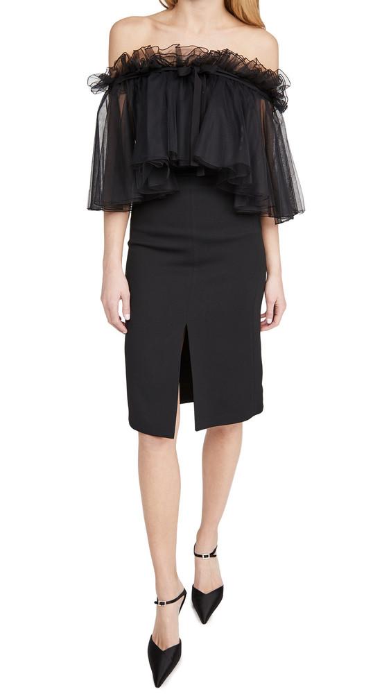 Giambattista Valli Strapless Tulle Midi Dress in black