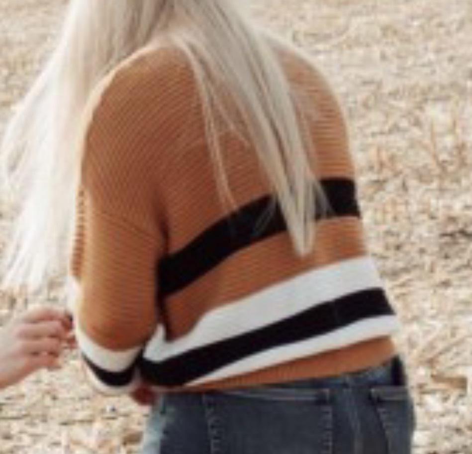 sweater white black mustard stripes