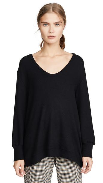 Enza Costa Easy U Neck Sweater in black