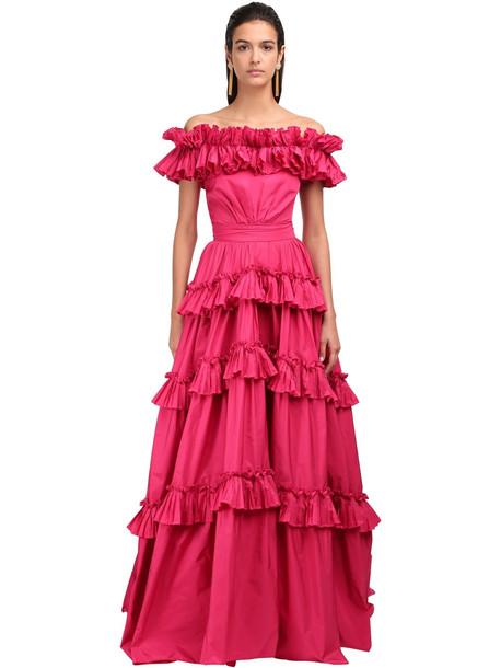 ZUHAIR MURAD Off-the-shoulder Taffeta Gown in pink
