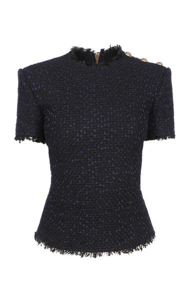 Balmain Short Sleeved Tweed Top in black