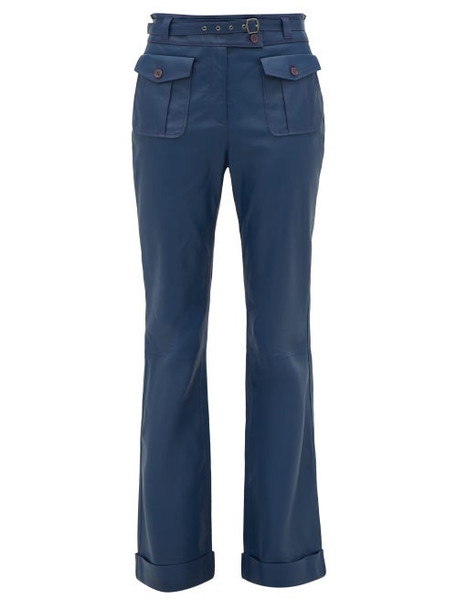 Sies Marjan - Nola High Rise Leather Trousers - Womens - Navy