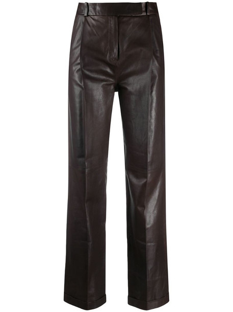 Arma high-waisted leather trousers in brown