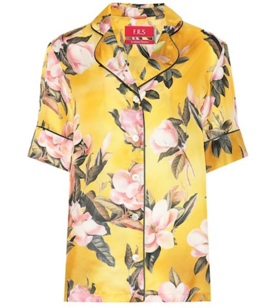 F.R.S For Restless Sleepers Bendis satin pajama shirt in yellow