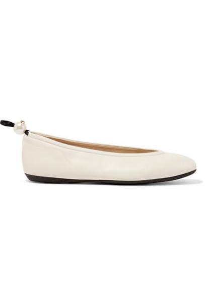 Nicholas Kirkwood - Delfi Faux Pearl-embellished Leather Ballet Flats - Off-white